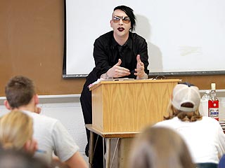 Marilyn Manson Takes Trip to College