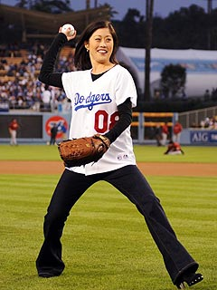Kristi Yamaguchi Avoids SportsCenter Ridicule with Dodgers Pitch
