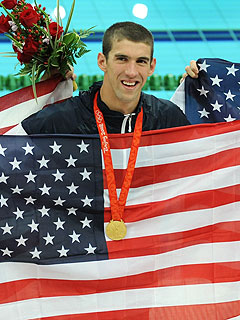Phelps Wins Eighth Gold, Breaks Spitz's Record