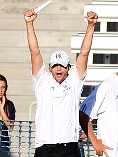 Ashton Kutcher Loves Coaching Football