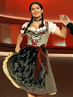 Salma Hayek Loses Bet, Dons Oktoberfest Outfit