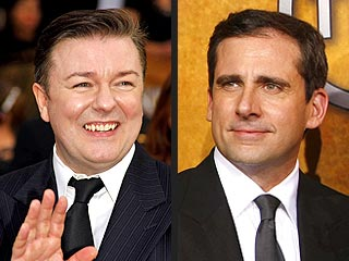 Steve Carell Jokes About 'Tension' with Ricky Gervais