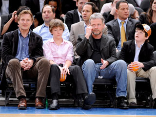 Liam Neeson, Sons Sit Courtside at Knicks Game