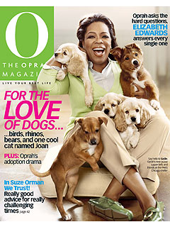 Oprah Winfrey Poses with New Puppy for Her Magazine
