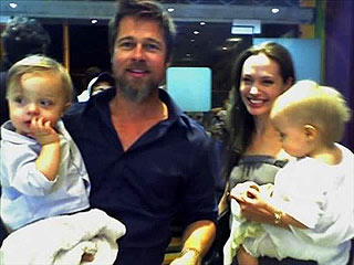 PHOTO: Brad and Angelina Take the Twins for Ice Cream!