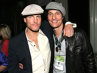 "Photo of Matthew McConaughey & his friend actor  Woody Harrelson - Movie ""The Newton Boys"""