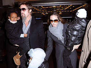 Brad and Angelina Take the Kids to Mary Poppins