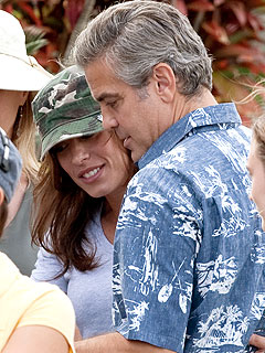 George Clooney Gets Set Visit from Elisabetta Canalis