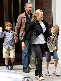 PHOTO: Kate Winslet Steps Out with Sam Mendes and Kids in New York