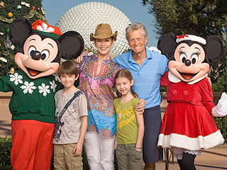 Recovering Michael Douglas Takes Kids to Epcot Center