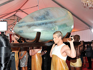 Lady Gaga Egg Arrival at Grammys 2011