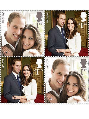 Kate Middleton, Prince William on Stamps at Post Office