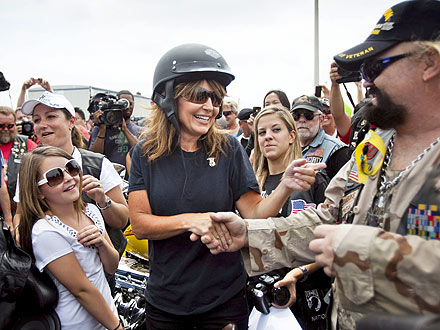 Sarah Palin in 'Rolling Thunder' Motorcycle Rally