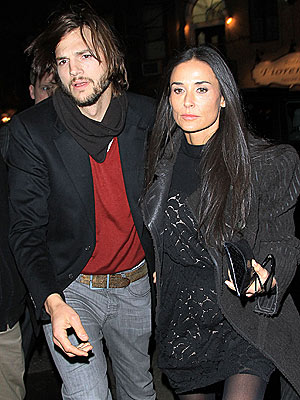 Ashton Kutcher Celebrates Two and a Half Men with Demi Moore