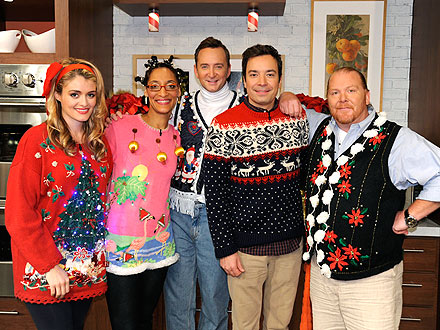 : Daphne Oz, Carla Hall, Clinton Kelly, Jimmy Fallon and Mario Batali