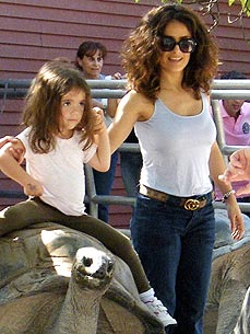Spotted: Salma Hayek and Valentina Ride a Giant Tortoise