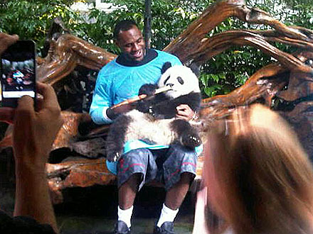 LeBron James Cuddles a Panda Cub in China (PHOTO)