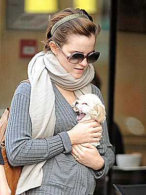 Emma Watson Pictures with Puppy in London