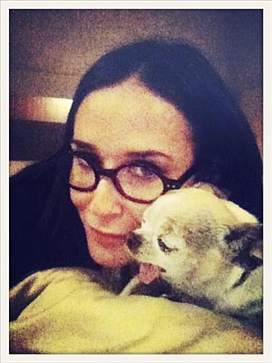 Demi Moore Cuddles Her Dog: Photo