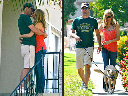 Jon Hamm Steals a Kiss After Walking the Dog