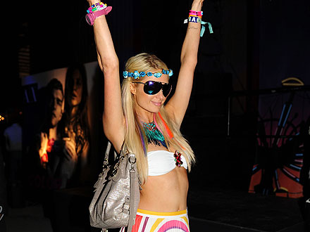 Paris Hilton Whips Her Hair at Coachella Bash