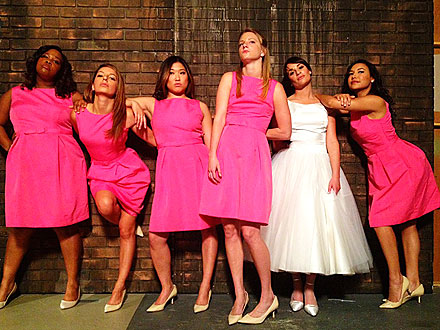 Lea Michele Shows Glee Gals Dressed as Bridesmaids