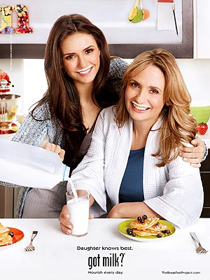 Nina Dobrev, Mother Pose for a Got Milk Ad
