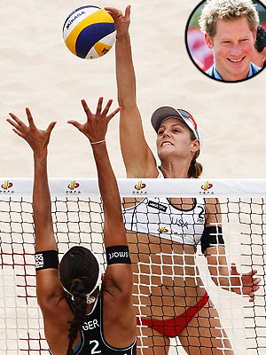 Summer Olympics: Prince Harry & U.S. Women&#39;s Beach Volleyball Team