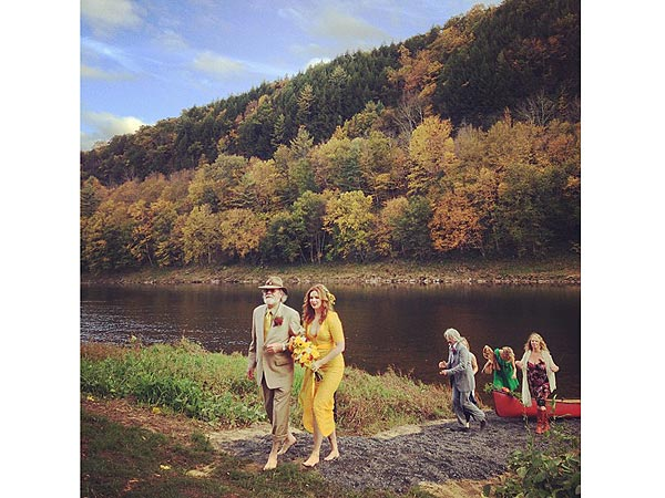 Amber Tamblyn Marries David Cross in Mustard Colored Wedding Dress