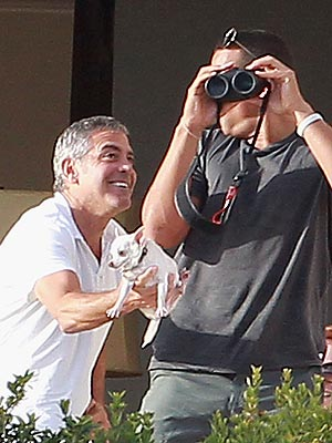 George Clooney Jokes with Alex Rodriguez in Mexico
