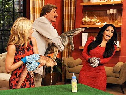 Kim Kardashian Hosts Live with Kelly, Freaks Out Over Lizard