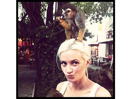 Holly Madison Tweets Photo with Monkey