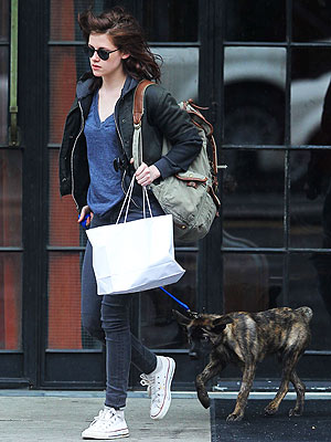Kristen Stewart Walks Robert Pattinson's Puppy!