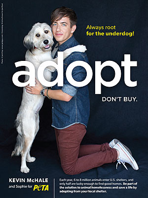 Kevin McHale Poses with New Dog Sophie for PETA