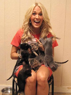 Carrie Underwood Cuddles Kittens at Her Hometown Shelter
