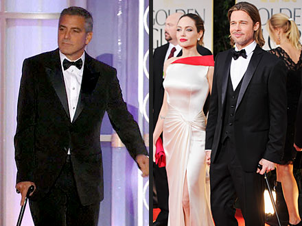 Golden Globes: George Clooney Pokes Fun at Brad Pitt - Pictures