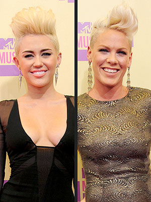 Pink & Miley Cyrus Rock Identical Looks at VMAs