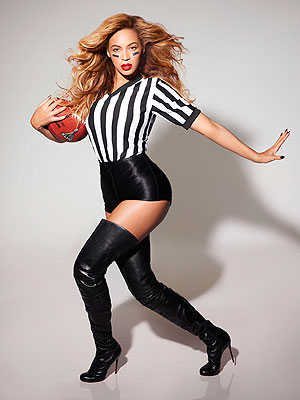 Beyonce Super Bowl Halftime Performance - The Singer Poses as Sexy Referee