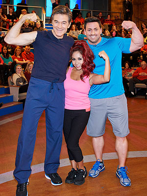 "From left: Dr. Mehmet Oz, Nicole ""Snooki"" Polizzi and her trainer"