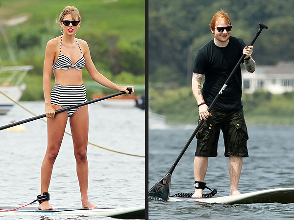Taylor Swift & Ed Sheeran Go Stand Up Paddleboarding in Rhode Island