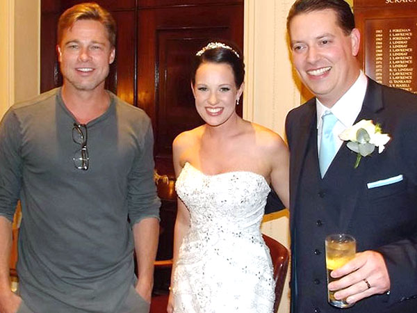 Brad Pitt Crashes a Wedding in England