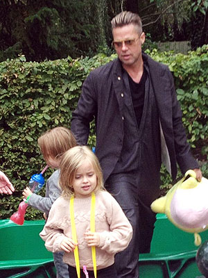 Brad Pitt Takes His Twins, Vivienne and Knox, to Legoland