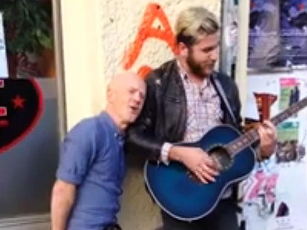 Jimmy Somerville joins street musician to sing Bronski Beat's 'Smalltown Boy'
