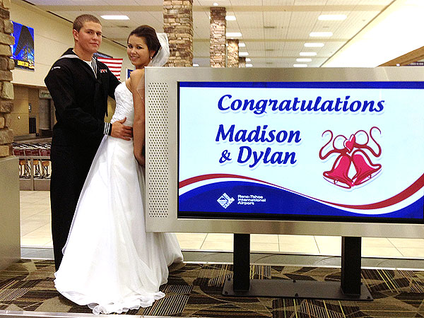 Navy Sailor Marries High-School Sweetheart in Reno Airport