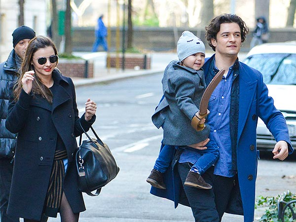 Orlando Bloom and Miranda Kerr Reunite in N.Y.C. with Son Flynn