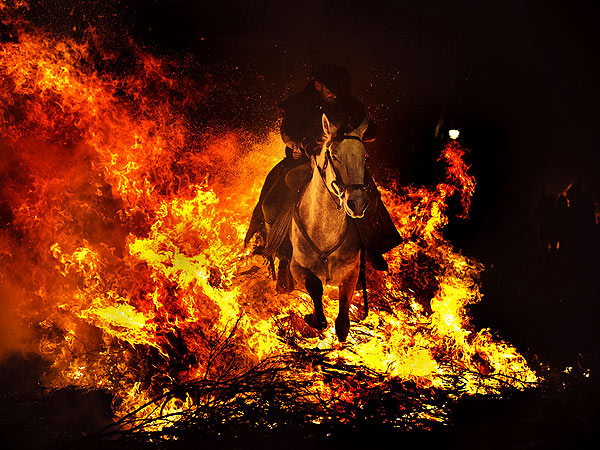 Luminarias Festival: Men Riding Horses Through Fire in Spain for Saint Anthony