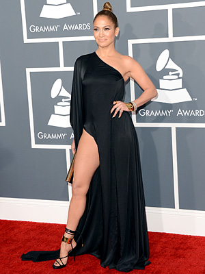 Jennifer Lopez Rocks a Slit-Up-to-There Grammy Gown