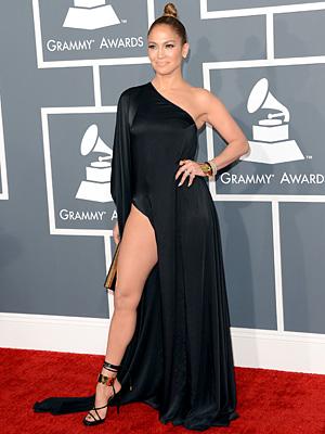 Jennifer Lopez Rocks a Slit-Up-to-There Grammy Gown