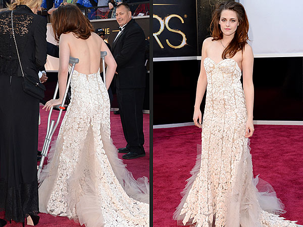Kristen Stewart Accessorizes with Crutches at Oscars After Cutting Foot