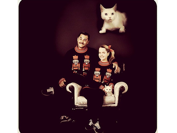 Mena Suvari Christmas Card with Boyfriend, Cat: Photo